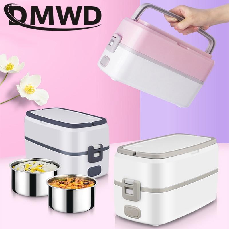 DMWD Электрический нагревательный Ланч-бокс из двух нержавеющей стали, контейнер для еды, мини-рисоварка, пароварка, ланчбокс для еды, Bento, гре...