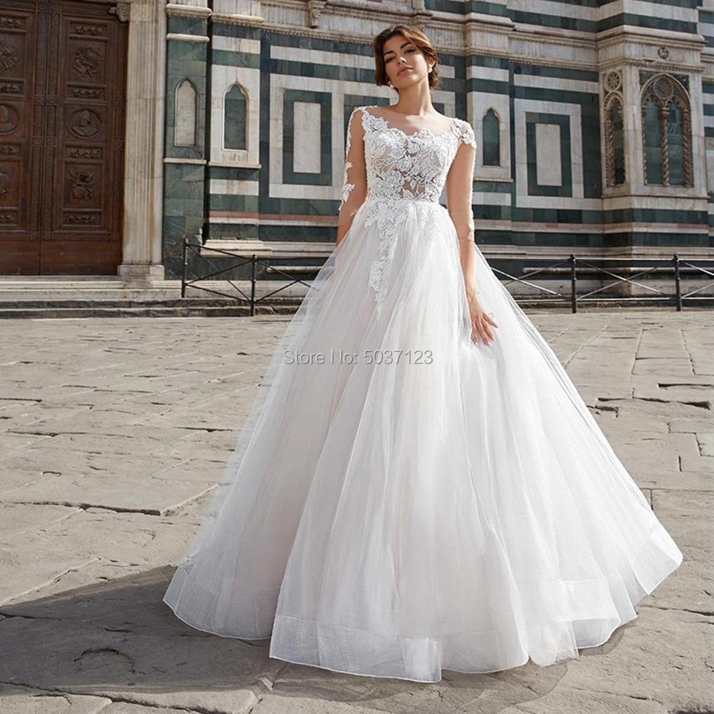 Lace Appliques Wedding Dresses Soft Tulle A-line Wedding Gowns Bride Dress Long Sleeve Vestidos De Noiva 2020 Buttons Back