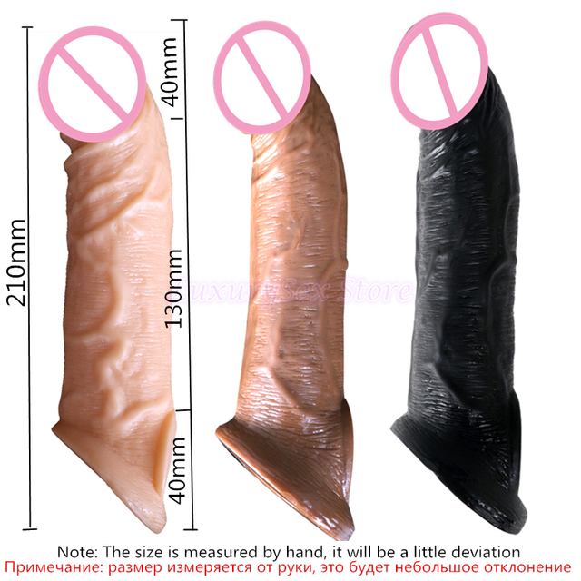 Reusable Penis Sleeve Extender Realistic Penis Condom Silicone Extension Sex Toy for Men Cock Enlarger Condom Sheath Delay 6