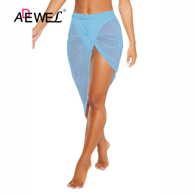 ADEWEL Black Twist Ruched Beach Skirt Women Bikinis Swimsuit Bathing Suit Cover-ups Sexy Beach Skirts Lightweight Beachwear 4
