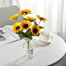 7 Heads Artificial Flowers Sunflower Romantic Provence Decoration Flower Silk  Simulation Party Wedding Home Decor