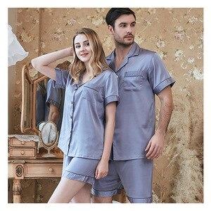 Image 5 - Frühling Und Sommer Neue Simulation Seide Paar Pyjamas Damen Strap Shorts männer Anzug Hause Kleidung Paare Pyjamas