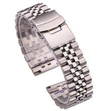 Correas de reloj de acero inoxidable para hombre y mujer, pulsera de plata de 18mm, 20mm, 22mm y 24mm, accesorios para reloj