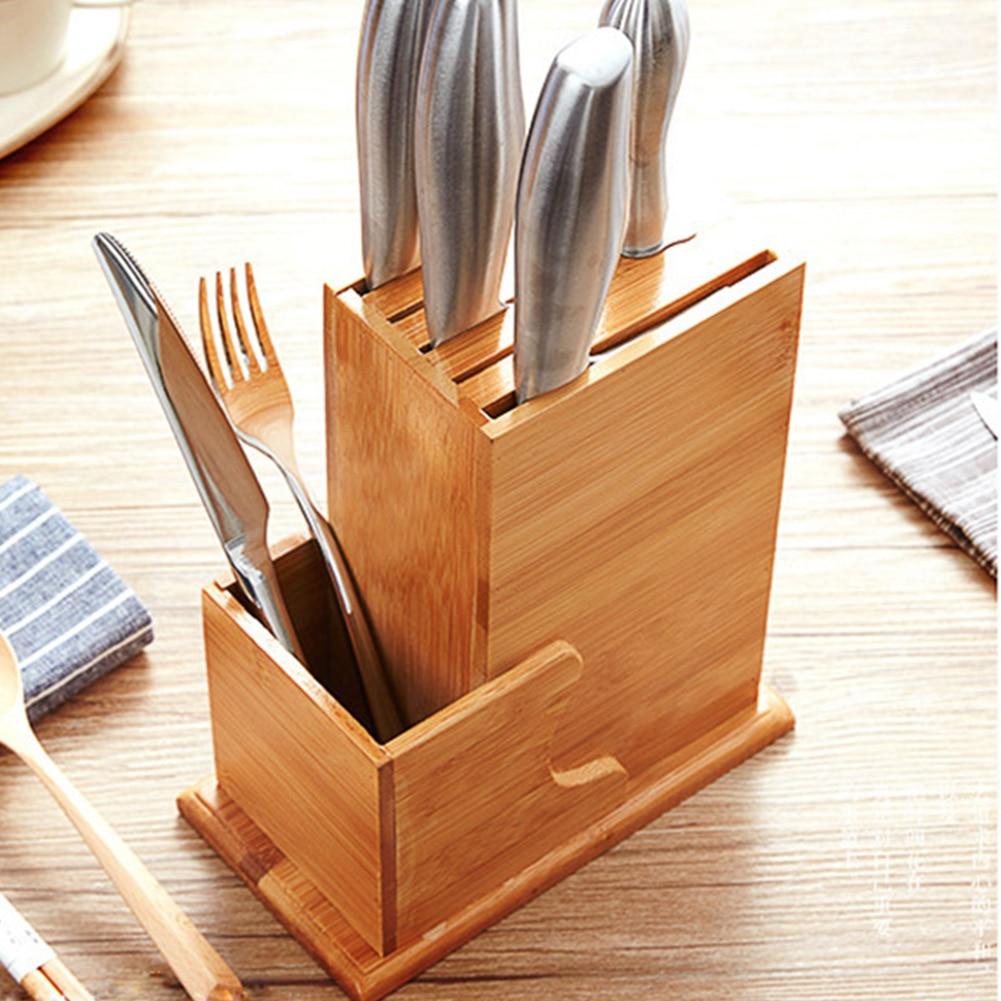 Slot Bamboo Wood Storage Rack Forks Spoon Holder Kitchen Chopper Scissor Chopsticks Natural Block Stand Tool Home Organizer