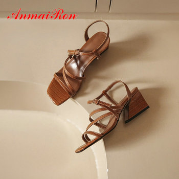ANMAIRON 2020 Cross-Strap Women Sandals Hoof Heels Narrow Band Womens ShoesFashion Genuine Leather Stripper Shoes Buckle Strap