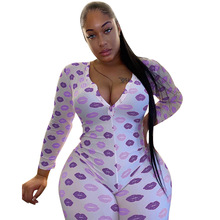 Summer 2020 women's jumpsuit print v-neck long sleeve tights sexy nightclub part