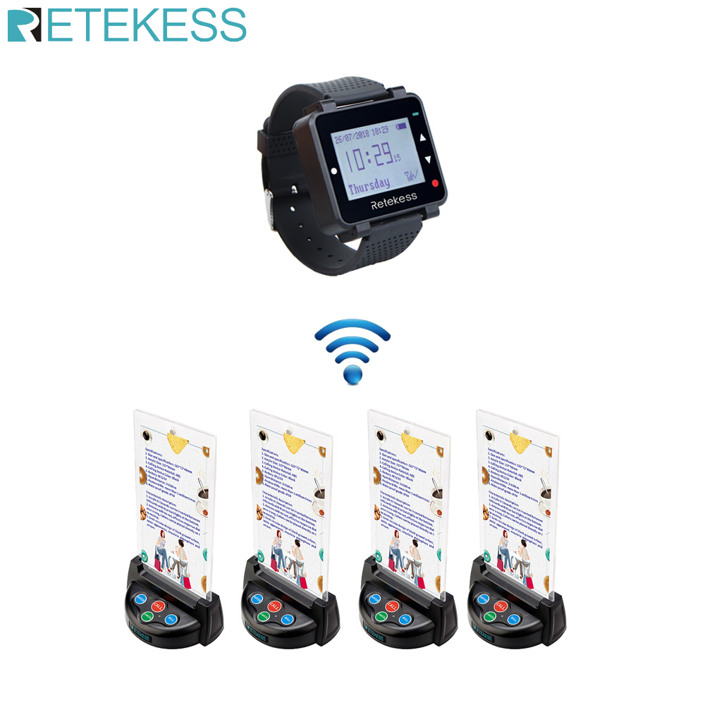 Retekess T128 Watch Receiver + 4pcs TD006 Table Card Pager Wireless Calling System For Restaurant Equipment Customer Service-in Pagers from Computer & Office