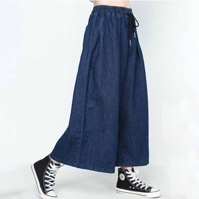 Sexemara Jeans Leg-Pants Waist Elasticity Ankle-Length Lace-Up Wide Solid-Color Fashion