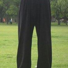 Брюки мужские/женские для занятий на открытом воздухе, тхэквондо каратэ, дзюдо китайского кунг-фу 95-185 см, хлопковые черные тренировочные бр...