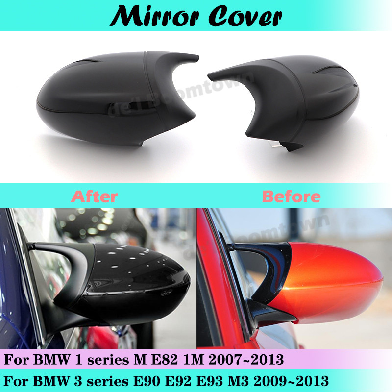 For BMW 1 3 series E90 E92 E93 M3 2009~2013 & M E82 1M 2007-2013 Side Wing Mirror Cover Rear-View Caps Black high quality types image