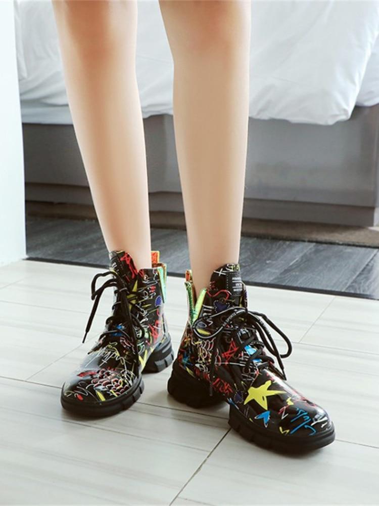 Short-Boots Graffiti British-Style Women Students Large-Size with Newspaper-Pattern Personality