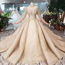 HTL245 Long sleeve wedding dresses champagne high neck beaded bridal dresses ball gown keyhole back wedding gown 2020 promotion