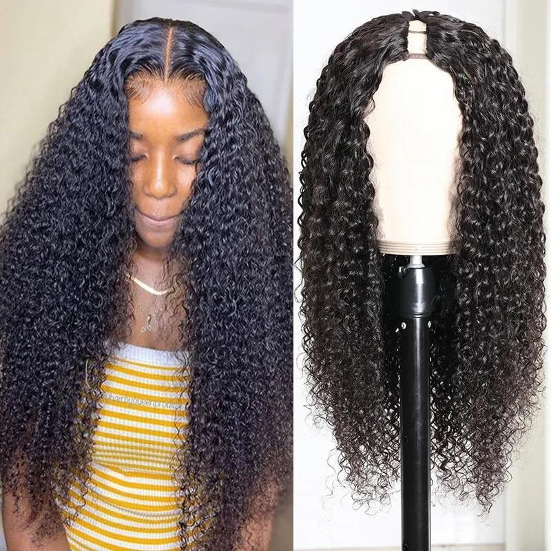 Парик с кудрявыми U-образными волосами, парики размера открытия 2x4 1X3, 3B 3C, парик с кудрявыми волосами средней длины, парик без повреждений, на...