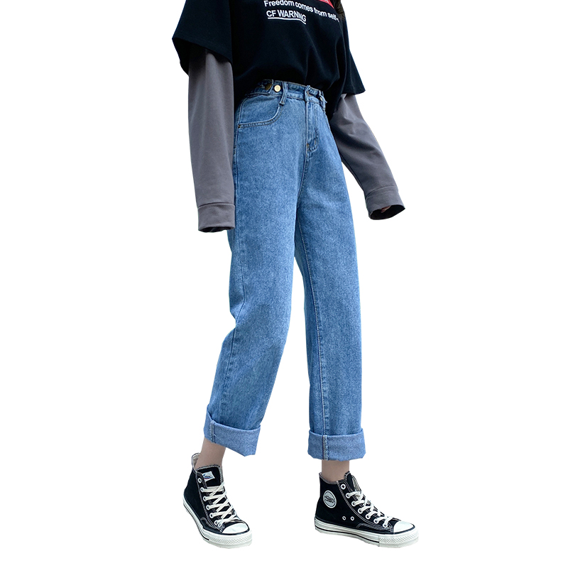 2020 Women Oversized Mom Skater Jeans Lady Plus Size 5XL Baggy Cropped Pants Student Straight Denim Jeans Autumn Black Trousers(China)