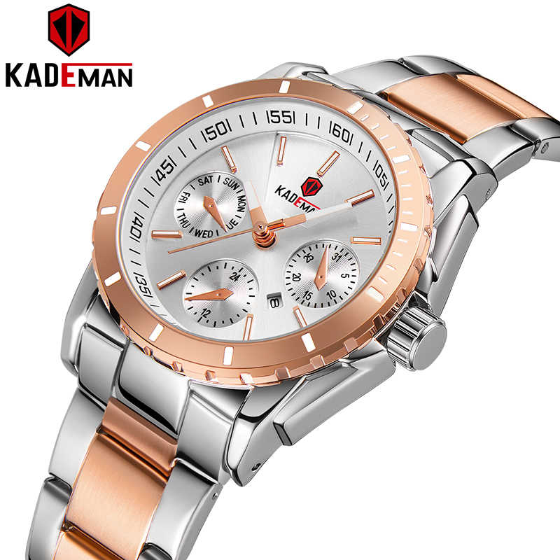 KADEMAN Women Fashion Dress Quartz Watches Lady Stainless Steel Luxury Waterproof Wristwatch Simple Girl Relogio Feminino 6137L
