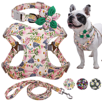 Flower Printed Dog Collar Harness Leash Set Nylon Small Medium Large Dogs Harness Vest Collar Leashes for Chihuahua Puppy Pet breathable small dog pet harness and leash set puppy cat vest harness collar for small medium dogs cute safety pet chest straps