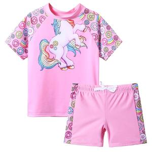 BAOHULU Short Sleeve Girls Kids Swimsuit Cartoon Horse Donuts Swimwear Teens Rash Guards Set Swimming Suits for Children 3-12Y