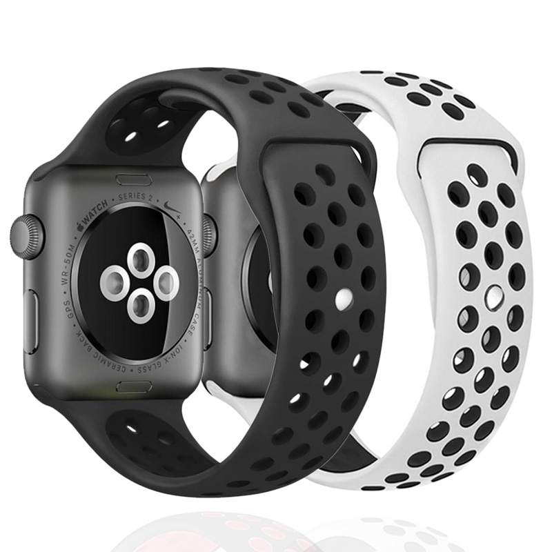 Breathable Silicone Sports Band For Apple Watch 5 4 3 2 1 42MM 38MM Strap Bands For Iwatch 5 4 3 40mm 44mm Men Women Bracelet