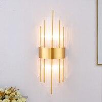 Gold LED Cristal Wall Lamp Luxury Sconce Wall Light for Living Room Beside Loft Stair Lighting Fixture Home Decor Vanity Light