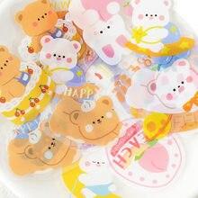 40 unidades/pacote kawaii pequeno urso e cães adesivos decorativos diy scrapbooking diário álbum vara etiqueta festa decoração