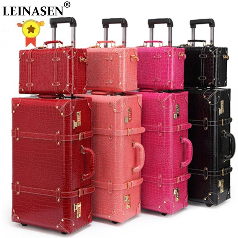 LEINASEN Retro Rolling Luggage Set Spinner Women Password Trolley 24 Inch Suitcase Wheels 20 Inch Vintage Cabin Travel Bag Trunk