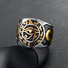 Anillo de Ojo de Horus egipcio para hombre Cruz de la vida de acero inoxidable anillos de símbolo de texto ANJ joyería Vintage para hombre talla EE. UU. 7-14