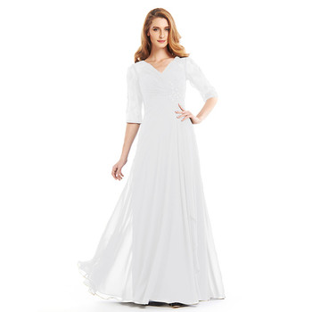 Navy Blue Chiffon Mother of the Bride Dresses for Weddings 2019 V-Neck Lace Half Sleeves Pleats Wedding Party Gowns Hollow Back 5
