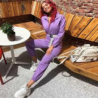 Nice Autumn Solid Pockets Loose Jumpsuits Women Lapel Zipper Cargo Overalls Streetwear Casual Rompers