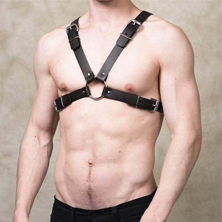 Leather Fetish Men Gay Harness Gothic Adjustable Body Bondage Chest Harness Belt Strap Punk Rave Costumes For BDSM Bondage Gay
