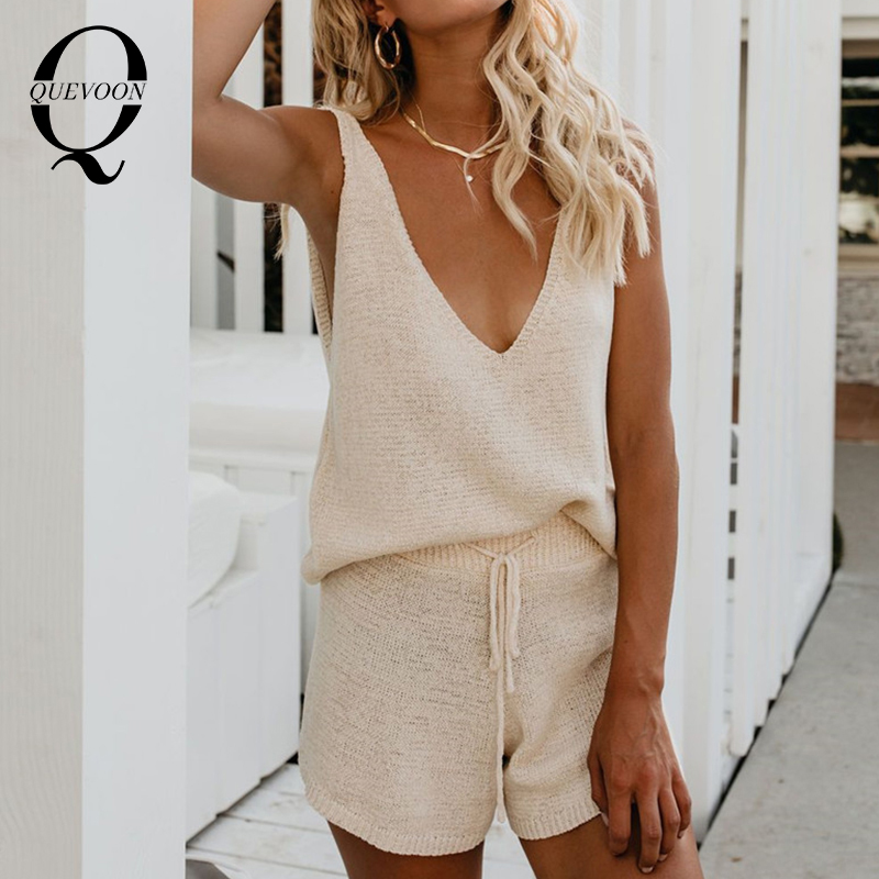 QUEVOON Matching Sets Women Solid Sleeveless Deep V  Backless Tank Tops And Lace Up High Waist Shorts Suits 2 Pieces Set Mujer