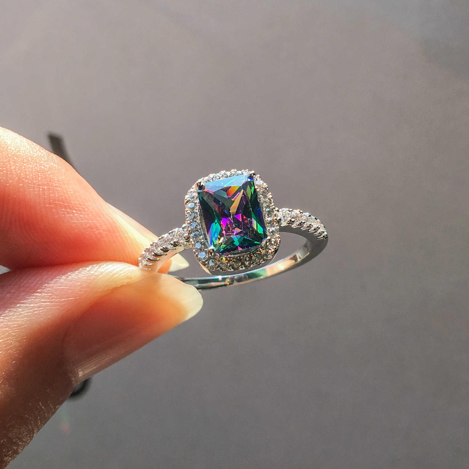 Charm Nữ Rainbow Đính Đá Nhiều Màu Vòng Đời Boho Bạc 925 Cưới Ban Nhạc Nhẫn Hứa Tình Yêu Nhẫn Đính Hôn Cho Nữ