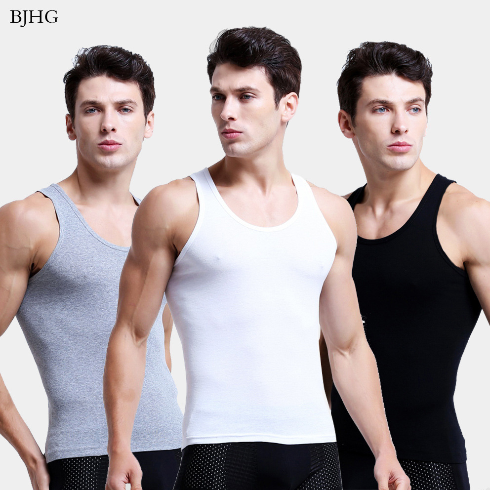 BJHG Man's 100% Cotton Solid Seamless Underwear Undershirts Brand Clothing  Mens Sleeveless Tank Vest Comfortable Undershirt|Undershirts| - AliExpress