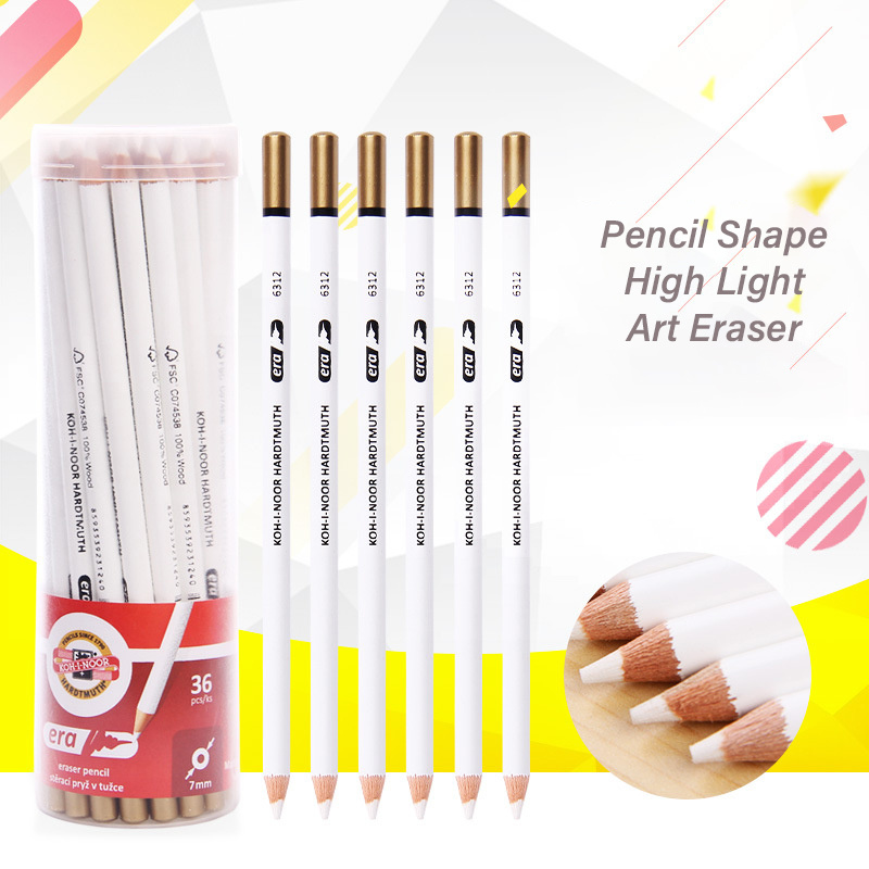 3Pcs/lot Creative Pencil Shape Eraser Professional Painting High Light Art Sketch Rubber For Student Drawing Stationery Supplies
