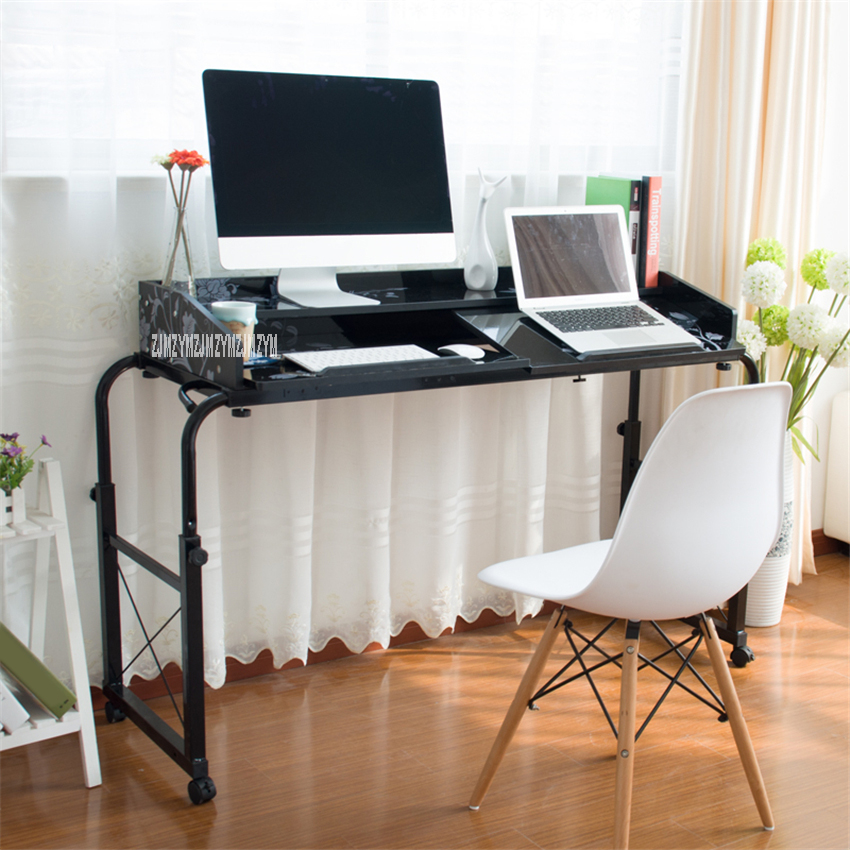 Portable Foldable Adjustable Computer Desk Folding Multifunctional Cross Storage Shelf Bookshelf Double Laptop Table