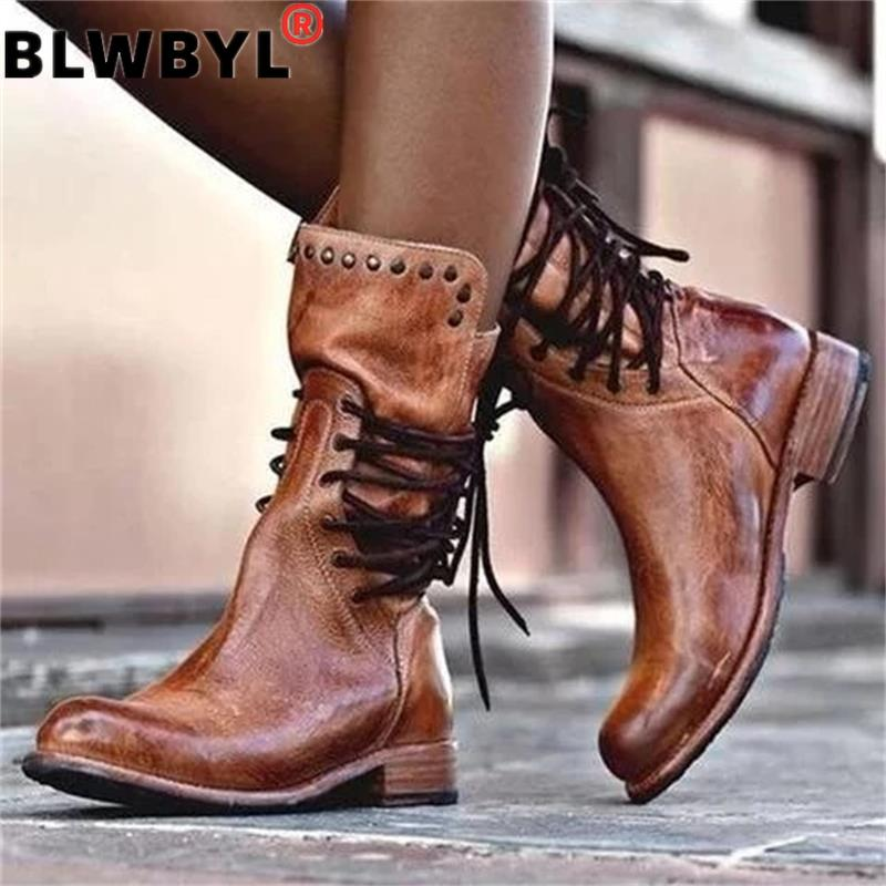 Women Leather Mid Calf Boots Retro Punk Lace Up Low Heels Autumn Winter Motorcycle Boots Vintage Round Toe Cowboy Botas De Mujer Mid-Calf Boots    - AliExpress