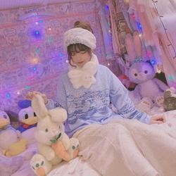 Принцесса сладкий Лолита толстовки misscherry оригинальный домашний японский Винтаж сладкий синий кролик двойной воротник свободные толстовки...