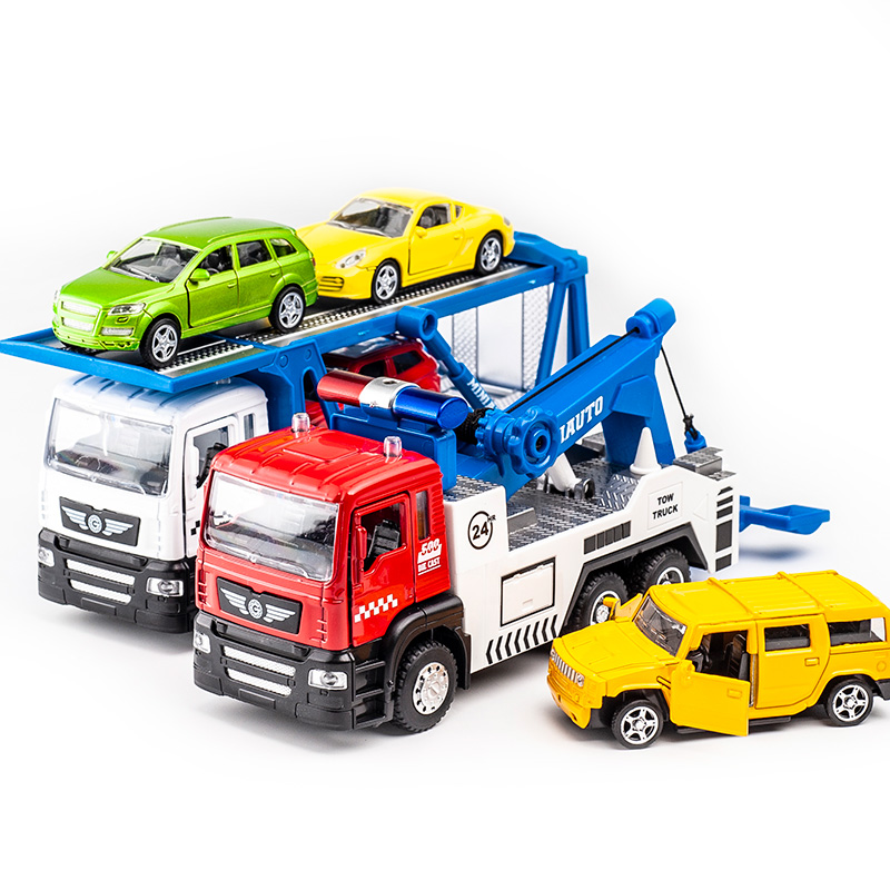 KIDAMI Alloy Tow Truck Transport Truck Set 1:50 Engineering Vehicle Die-Cast Car Model Lights & Sound Function Toy For Children