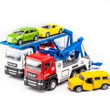 KIDAMI – ensemble de camion de Transport en alliage 1:50, véhicule d'ingénierie moulé, modèle de voiture, lumières et fonction sonore, jouet pour enfants