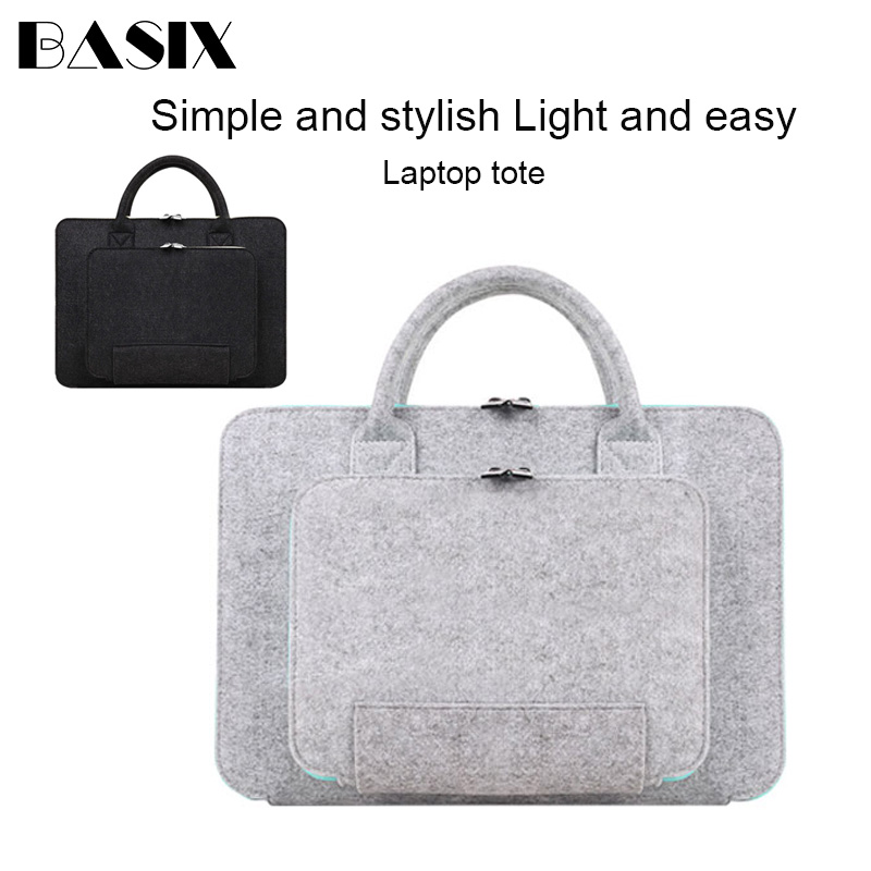 Laptop Bag Handbag 11 13 14 <font><b>15</b></font> Inch Super Light Solid Wool Felt Laptop Sleeve Case for MacBook Lenovo Dell HP <font><b>Asus</b></font> Computer Bag image