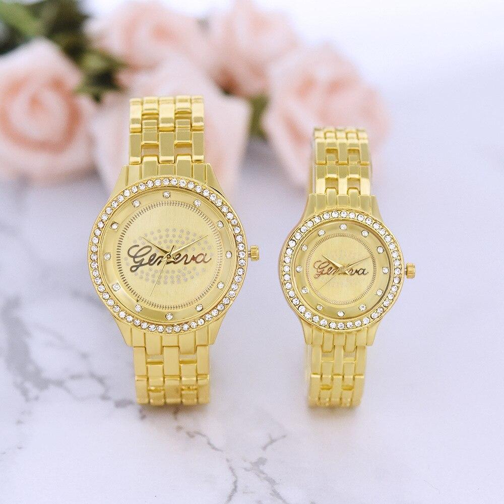 Couple Watch Men Women Business Waterproof Clock Diamond Alloy Mens Watches Fashion Casual Ladies Quartz Wristwatch