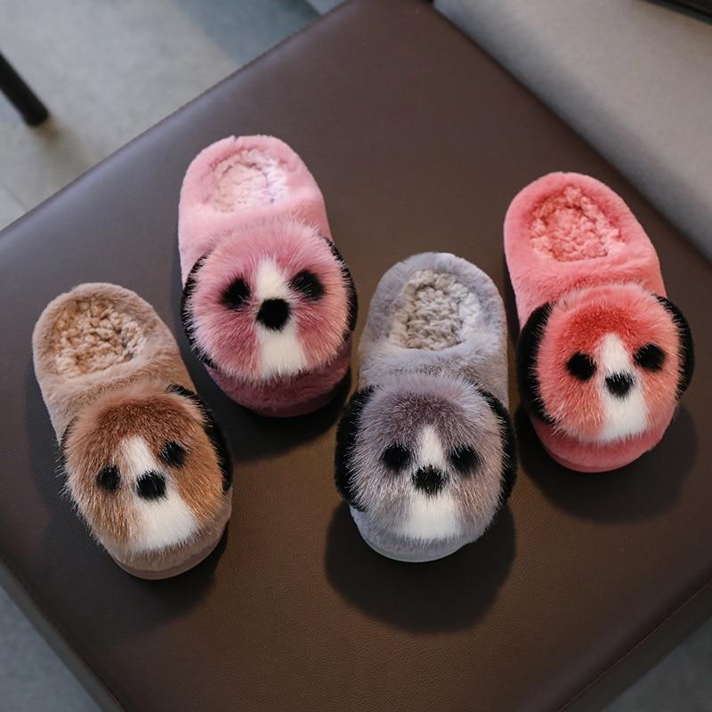 Children Winter Slippers For Girls Boys Warm Fur Plushes Cartoon Dog Home Non-Slip Slippers Thick Bottom Cotton Kids Slippers