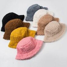 Hat Bucket-Hat Sun-Shade Fluffy Fisherman-Hat Soft Winter Solid-Color Fashion Women Warm