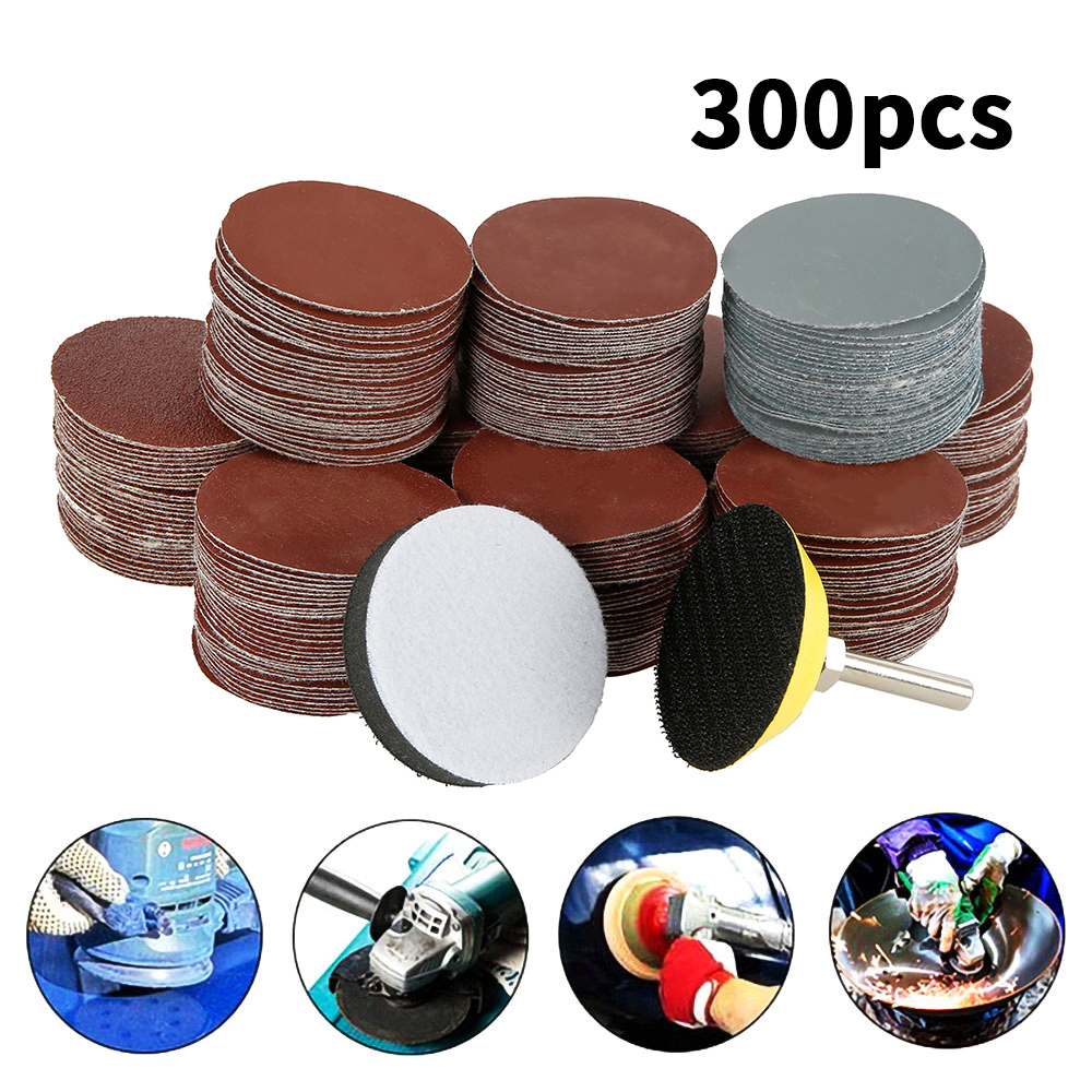 300pcs 80/180/240/320/800/3000 Grits Sanding Disc Set 2inch 50mm+ Loop Sanding Pad  With 3mm Shank For Polishing Cleaning Tools