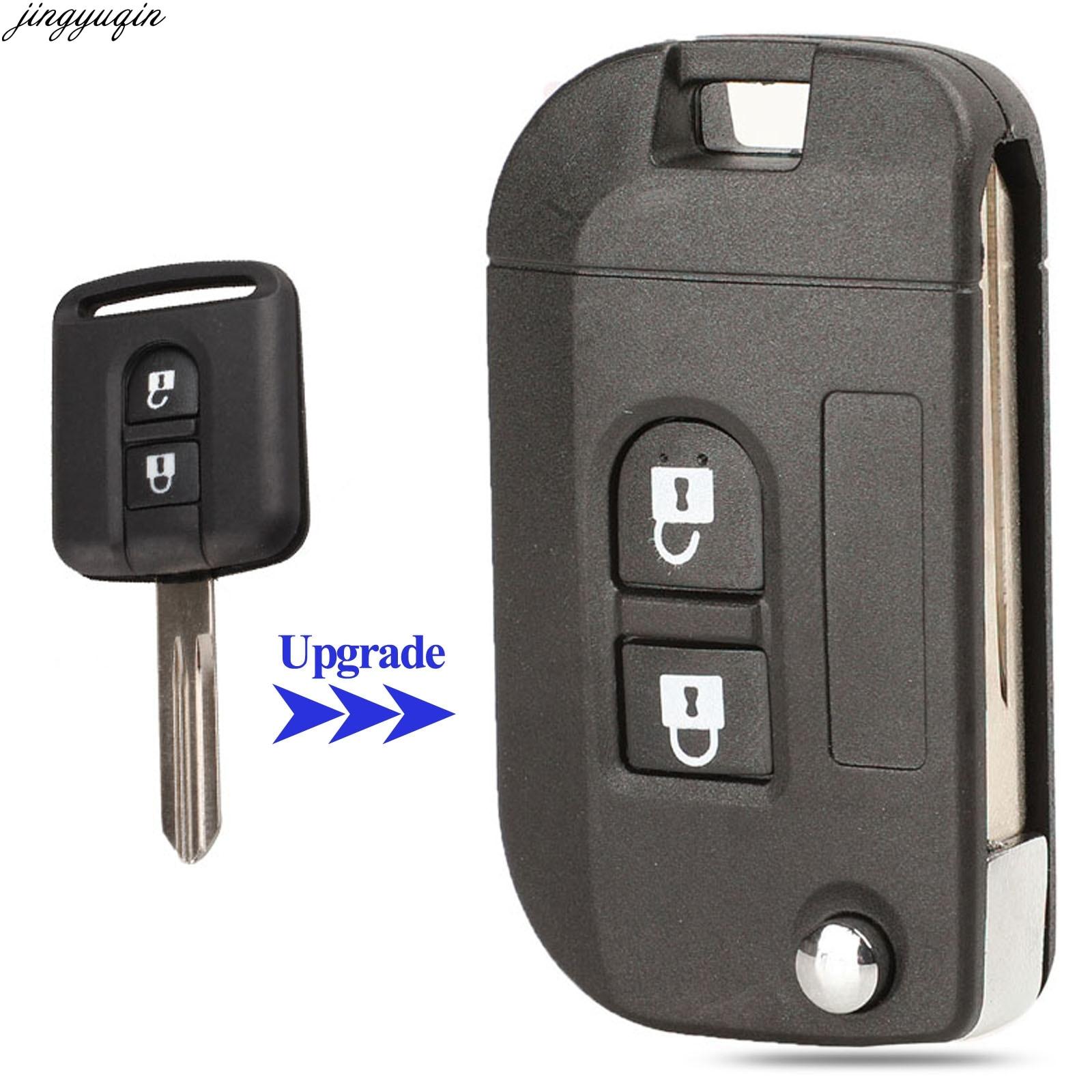 Jingyuqin складной чехол для автомобильного ключа с дистанционным управлением обновленный чехол для Nissan Qashqai первоклассная Micra Navara Almera Note Sunny 2 к...