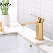 hm Brass brushed gold Kitchen Faucet Extension Hot and Cold Water Kitchen Faucets Mixer Tap Sink Bar Sink Basin Faucets gappo kitchen faucet kitchen sink faucets water mixer kitchen color brass taps sink kitchen faucets waterfall faucet