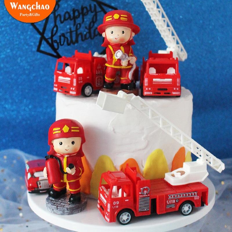 Wondrous Resin Little Fireman Happy Birthday Cake Topper Hero Dreamer Theme Funny Birthday Cards Online Elaedamsfinfo