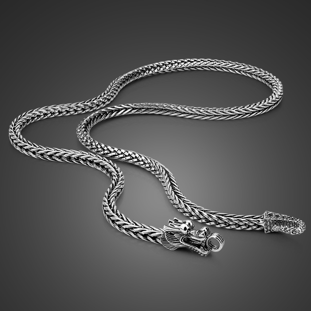 Mens 925 Thai Silver Chain Necklace Ethnic Dragon Design Craft 925 Sterling Silver Popular Necklace Body Jewelry 56CM/61CM/66CM