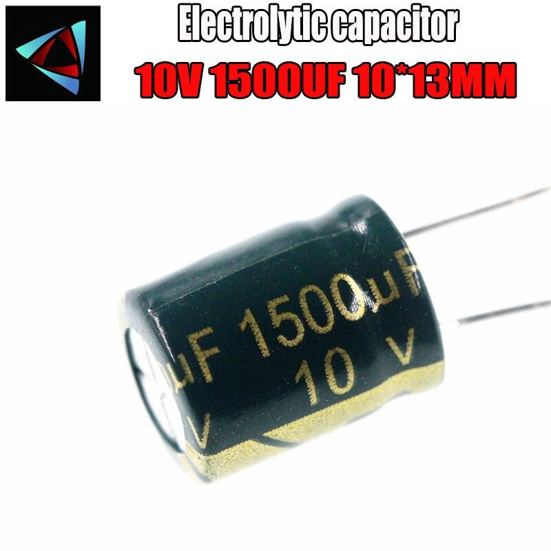 8PCS Higt Quality 10V 1500UF 10*13mm 1500UF 10V 10*13 Electrolytic Capacitor