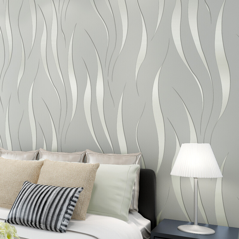 Fashion Simple 3D Wave Pattern Wallpaper Nonwoven Fabric Foaming Wallpaper Bedroom Living Room Wall-to-Wall Home Improvement Wal