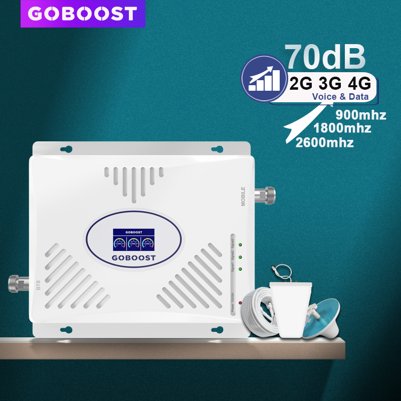 GSM Repeater 2G 3G 4G Cellular Signal Booster LTE 4G 900 1800 2600 Tri Band Cell Phone Amplifier 70dB LDPA Antenna Repeater Set